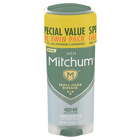 Mitchum Anti-Perspirant & Deodorant For Men Gel Unscented Twin Pack - 2-3.4 Oz