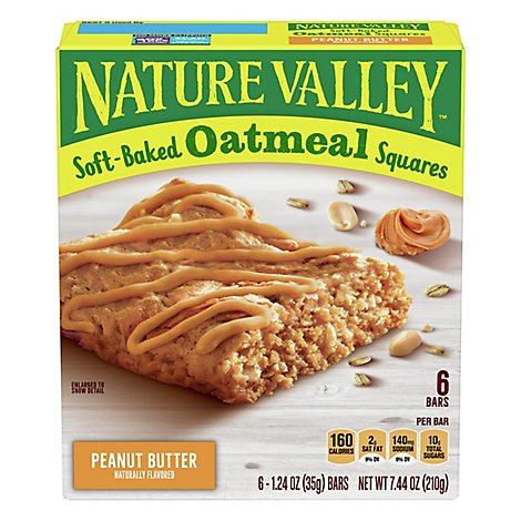 Nature Valley Oatmeal Squares Soft-Baked Peanut Butter - 6-1.24 Oz
