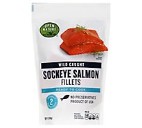 Open Nature Fish Wild Caught Salmon Sockeye Fillet Frozen - 12 Oz