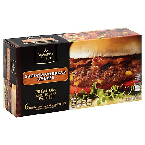 Signature SELECT Premium Angus Beef Hamburger Patties Bacon And Cheddar Cheese - 32 Oz