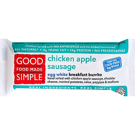 Good Food Made Simple Breakfast Burrito Chicken Apple Sausage - 5 Oz