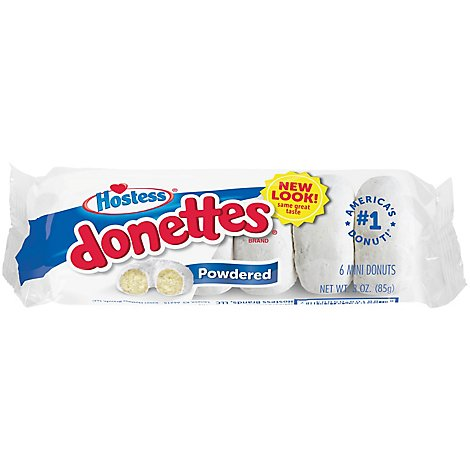 Hostess Donettes Mini Donuts Powdered 6 Count - 3 Oz