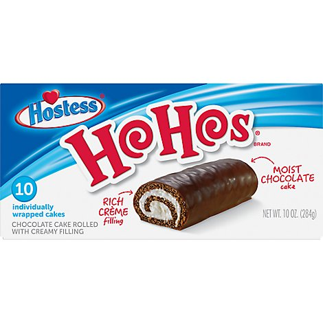 Hostess Ho Hos Chocolate Cakes Rolled with Creamy Filling 10 Count - 10 Oz