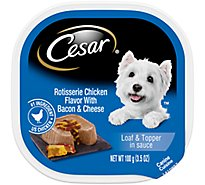 Cesar Savory Delights Canine Cuisine In Meaty Juices Chicken with Bacon & Cheese Tub - 3.5 Oz