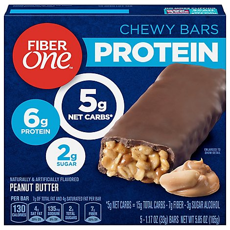 Fiber One Protein Chewy Bars Peanut Butter - 5-1.17 Oz