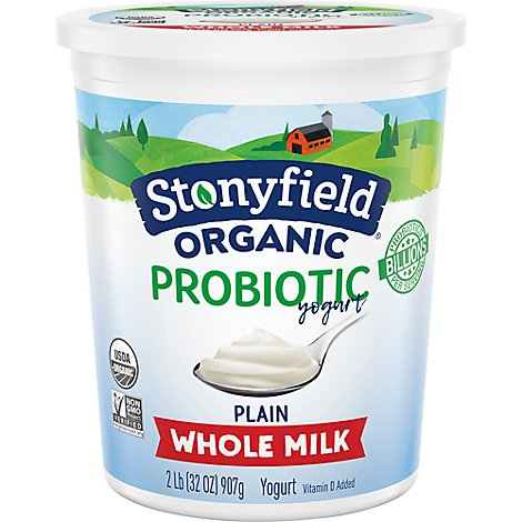 Stonyfield Organic Probiotic Yogurt Whole Milk Smooth & Creamy Plain - 32 Oz