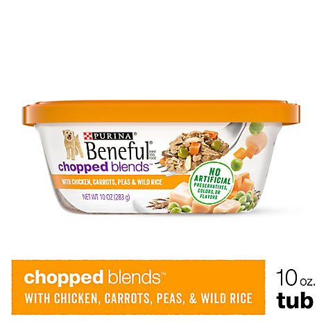 Beneful Dog Food Wet Chopped Blends Chicken Carrots Peas & Wild Rice - 10 Oz