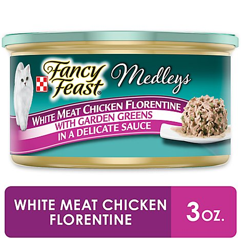 Fancy Feast Medleys Cat Food Gourmet White Meat Chicken Florentine In A Delicate Sauce Can - 3 Oz