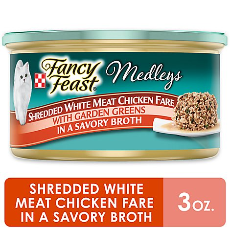 Fancy Feast Medleys Cat Food Gourmet Shredded White Meat Chicken Fare In A Savory Broth - 3 Oz
