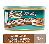 Fancy Feast Medleys Cat Food Gourmet White Meat Chicken & Tuna Recipe In Broth Can - 3 Oz