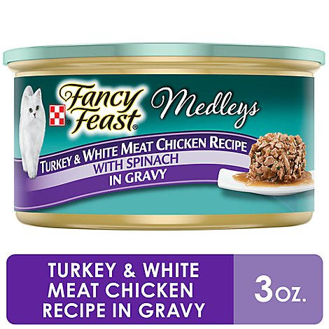 Fancy Feast Cat Food Wet Medleys Turkey & White Meat Chicken With Spinach - 3 Oz