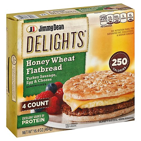 Jimmy Dean Delights Turkey Sausage Egg & Cheese Honey Wheat Flatbread Sandwiches 4 Count