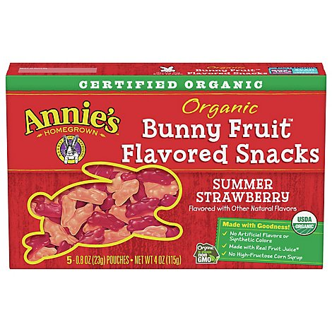 Annies Homegrown Fruit Snacks Organic Bunny Summer Strawberry - 5-0.8 Oz