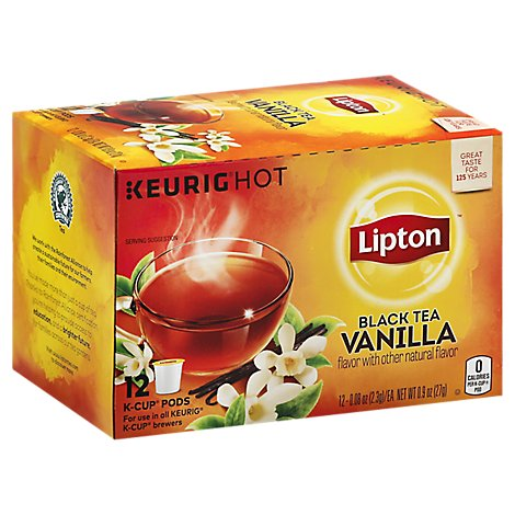 Lipton Black Tea K-Cup Pods Vanilla - 12-0.08 Oz