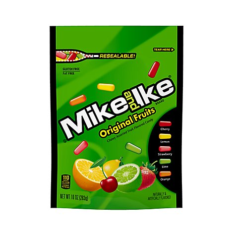 Mike And Ike Candies Chewy Fruit Original Stand Up Bag - 10 Oz