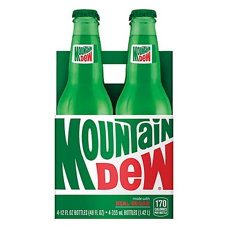 Mtn Dew Soda Real Sugar - 4-12 Fl. Oz.