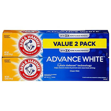 ARM & HAMMER Advance White Toothpaste Fluoride Anticavity Fresh Mint Flavor - 2-6 Oz