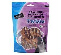 Signature Pet Care Dog Treat Dog Twist Pork Beef & Chicken - 10 Count