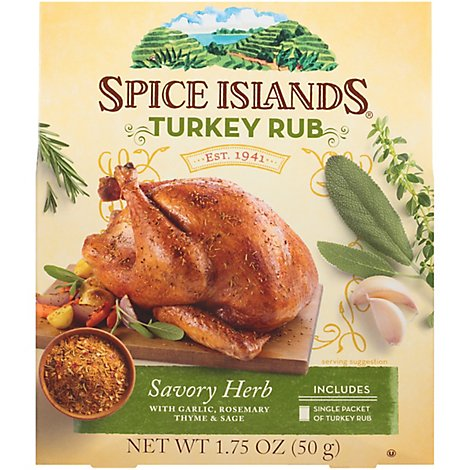 Spice Islands Rub Turkey Savory Herb - 1.75 Oz