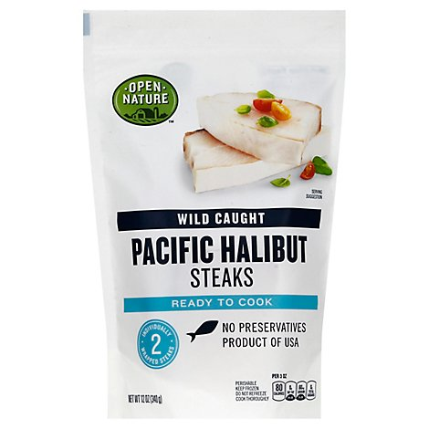 Open Nature Halibut Pacific Steaks Wild Caught - 12 Oz