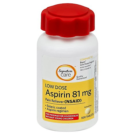 Signature Care Aspirin Pain Relief 81mg NSAID Low Dose Enteric Coated Tablet - 500 Count