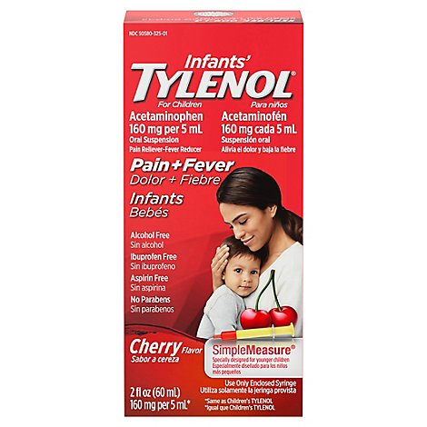 Tylenol Infants Drops Acetaminophen Suspension Cherry Flavor - 2 Fl. Oz.