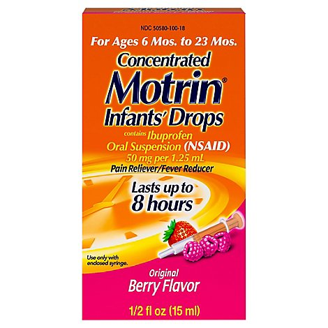 Motrin Infants Drops Concentrated Ibuprofen Suspension Original Berry Flavor - .5 Fl. Oz.