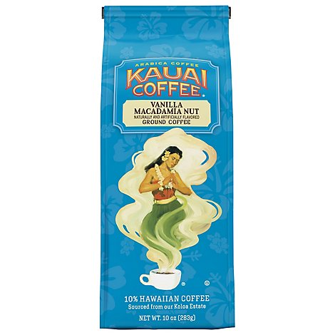 Kauai Coffee Coffee Hawaiian Ground Vanilla Macadamia Nut - 10 Oz