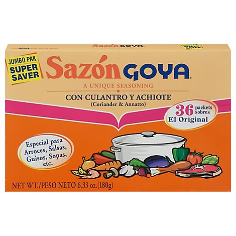 Goya Sazon Seasoning Con Culantro Y Achiote Box 36 Count - 6.33 Oz