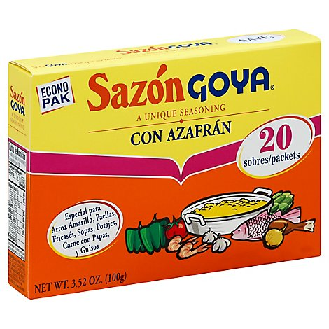 Goya Sazon Seasoning Con Azafran Box 20 Count - 3.52 Oz