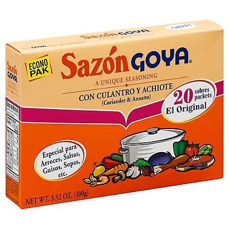Goya Sazon Seasoning Con Culantro Y Achiote Box 20 Count - 3.52 Oz