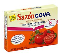 Goya Sazon Seasoning Con Cilantro Y Tomate Box 8 Count - 1.41 Oz