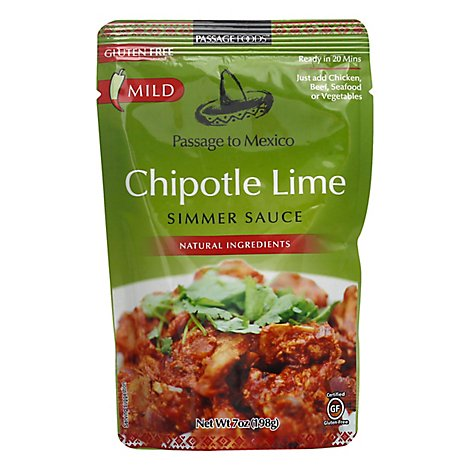 Passage Foods Simmer Sauce Passage to Mexico Chipotle Lime Mild Pouch - 7 Oz