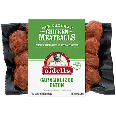 Aidells Chicken Meatballs Caramelized Onion 12 Oz, Fully Cooked