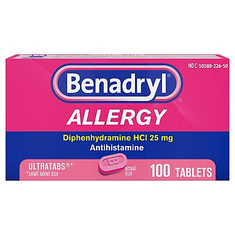 Benadryl Allergy Tablets 25mg Ultratabs - 100 Count