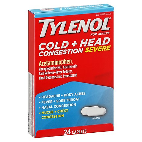 TYLENOL Pain Reliever/Fever Reducer Caplets Cold Head Congestion Severe For Adults - 24 Count