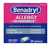 Benadryl Allergy Liqui-Gels Dye Free 25 mg - 24 Count