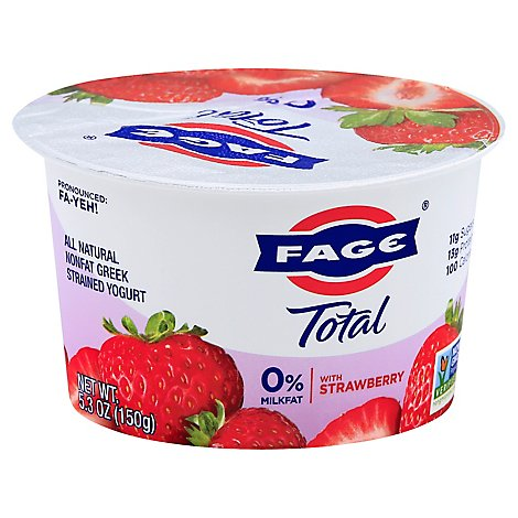Fage Total 0% Yogurt Greek Nonfat Strained with Strawberry - 5.3 Oz