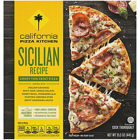 California Pizza Kitchen Pizza Crispy Thin Crust Sicilian Recipe Frozen - 15.5 Oz