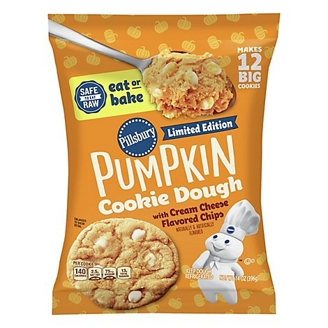 Pillsbury Ready To Bake! Cookies Pumpkin With Cream Cheese Flavored Chips 12 Count - 14 Oz