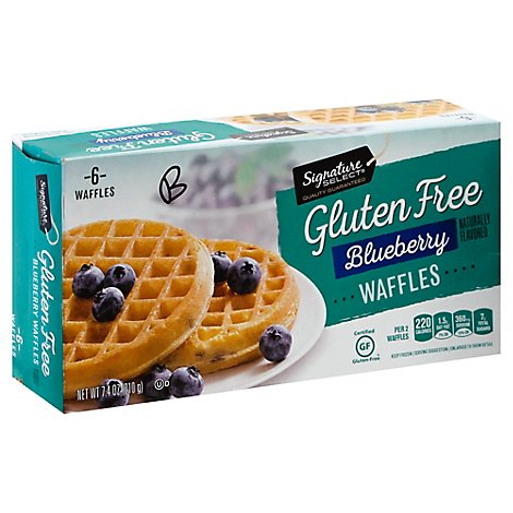 Signature SELECT/Eating Right Waffles Gluten Free Blueberry 6 Count - 7.4 Oz