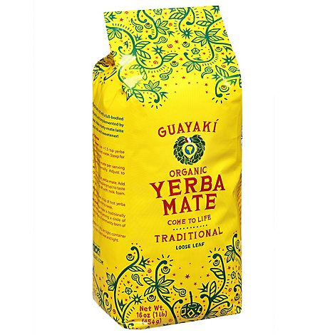 Guayaki Yerba Mate Tea Organic Loose Traditional - 16 Oz