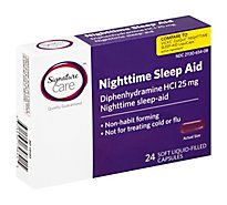 Signature Care Nighttime Sleep Aid Diphenhydramine HCl 25mg Softgel - 24 Count