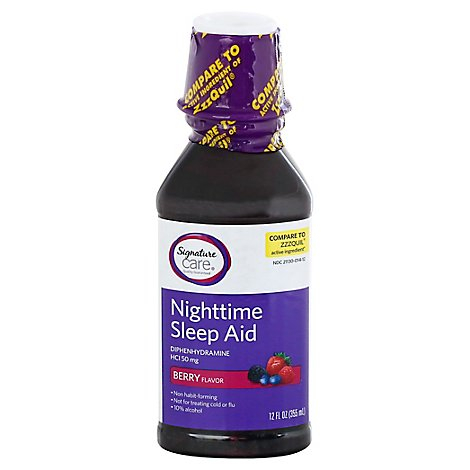 Signature Care Nighttime Sleep Aid Diphenhydramine HCl 50mg Berry - 12 Fl. Oz.