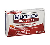 Mucinex Sinus-Max Medicine Severe Congestion Relief Maximum Strength Caplets - 20 Count