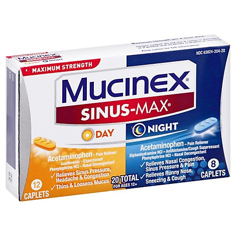 Mucinex Sinus-Max Day & Night Medicine Maximum Strenght Caplets - 20 Count
