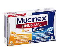 Mucinex Sinus-Max Medicine Say/Night Maximum Strength Caplets - 20 Count