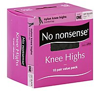 No nonsense Knee Highs Nylon Comfort Top Sheer Toe Off Black - 10 Count