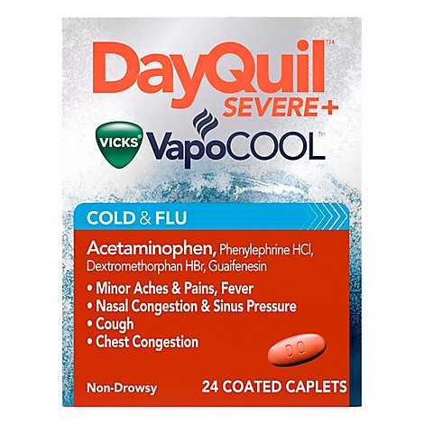 Vicks DayQuil Severe Plus VapoCool Caplets Cold & Flu Relief Non Drowsy - 24 Count