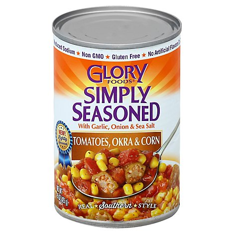 Glory Foods Simply Seasoned Tomatoes Okra & Corn - 15 Oz